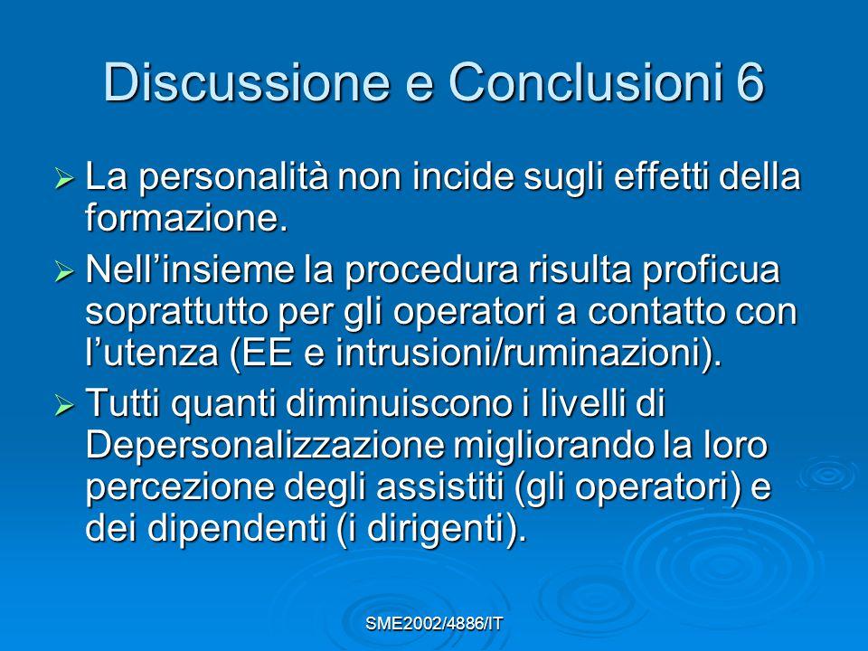 SME2002/4886/IT Discussione e Conclusioni 6  La personalità non incide sugli effetti della formazione.