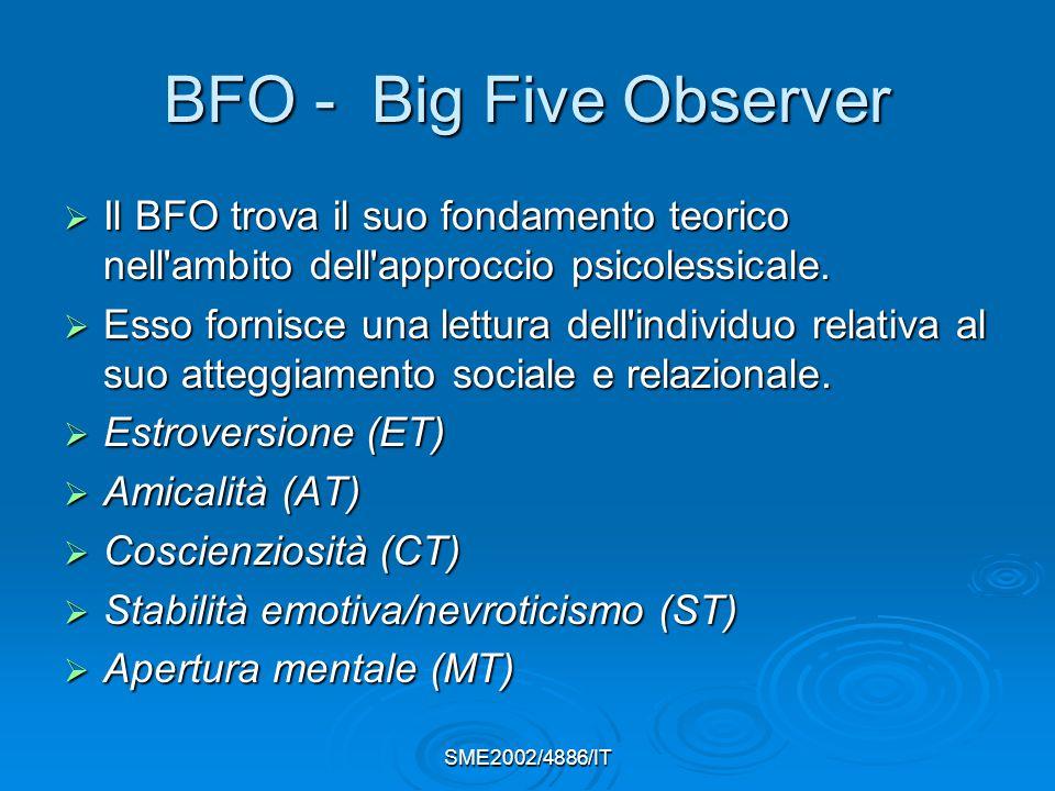 SME2002/4886/IT BFO - Big Five Observer  Il BFO trova il suo fondamento teorico nell ambito dell approccio psicolessicale.