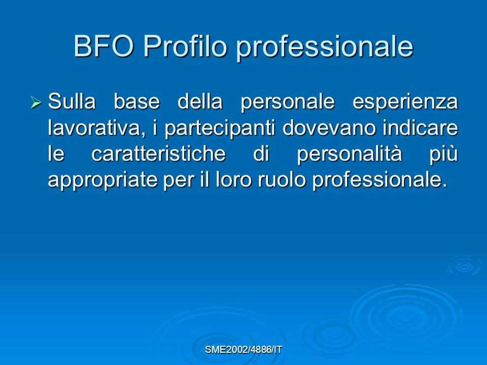 SME2002/4886/IT BFO Profilo professionale  Sulla base della personale esperienza lavorativa, i partecipanti dovevano indicare le caratteristiche di personalità più appropriate per il loro ruolo professionale.