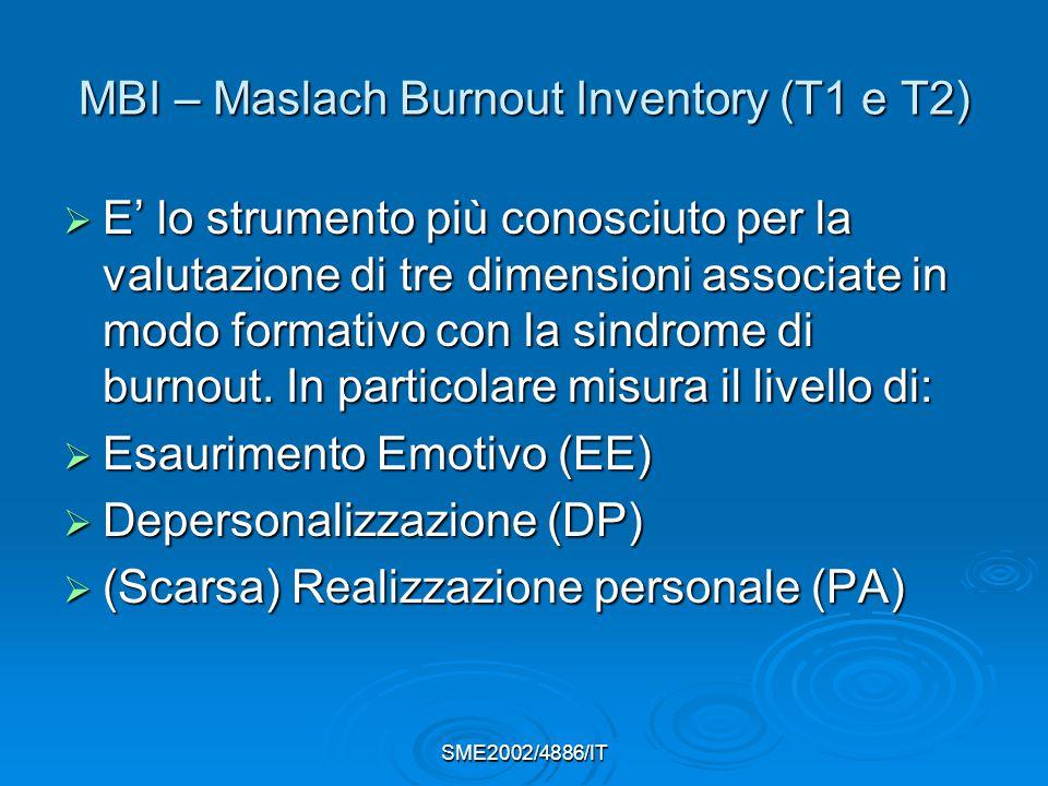 SME2002/4886/IT MBI – Maslach Burnout Inventory (T1 e T2)  E' lo strumento più conosciuto per la valutazione di tre dimensioni associate in modo formativo con la sindrome di burnout.