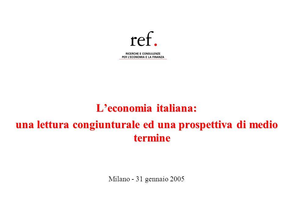L'economia italiana: una lettura congiunturale ed una prospettiva di medio termine Milano - 31 gennaio 2005