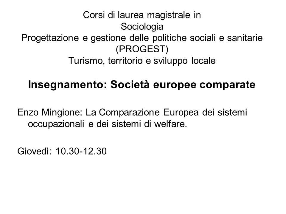 Programma degli incontri: 23-04: Sistemi occupazionali e sistemi di welfare: connessioni e contesti.