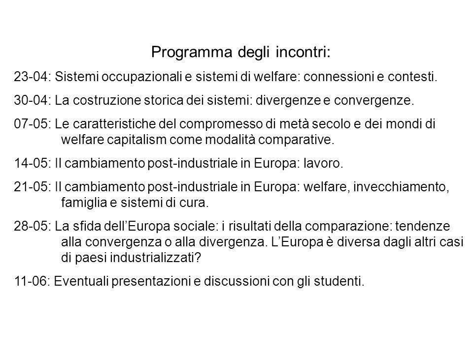 Programma degli incontri: 23-04: Sistemi occupazionali e sistemi di welfare: connessioni e contesti. 30-04: La costruzione storica dei sistemi: diverg