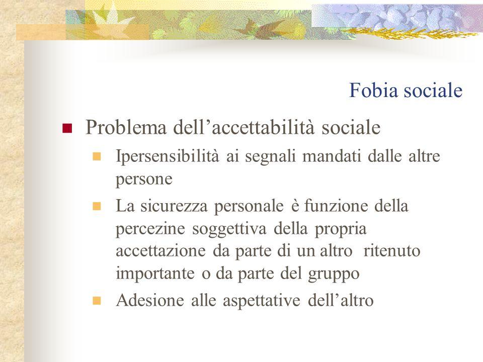 Fobia sociale Problema dell'accettabilità sociale Ipersensibilità ai segnali mandati dalle altre persone La sicurezza personale è funzione della percezine soggettiva della propria accettazione da parte di un altro ritenuto importante o da parte del gruppo Adesione alle aspettative dell'altro