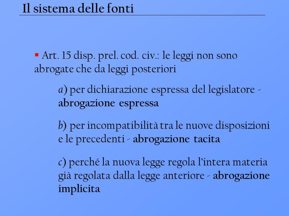 Il sistema delle fonti  Art. 15 disp. prel. cod. civ.: le leggi non sono abrogate che da leggi posteriori a ) per dichiarazione espressa del legislat