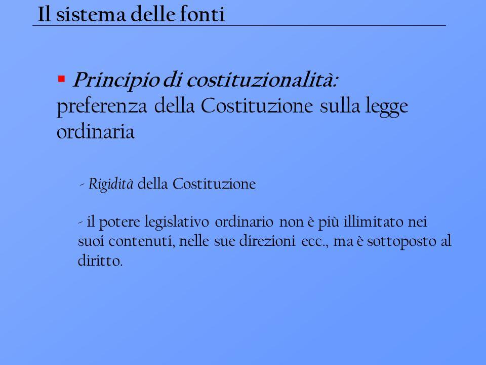 Il sistema delle fonti  Principio di costituzionalità: preferenza della Costituzione sulla legge ordinaria - il potere legislativo ordinario non è pi