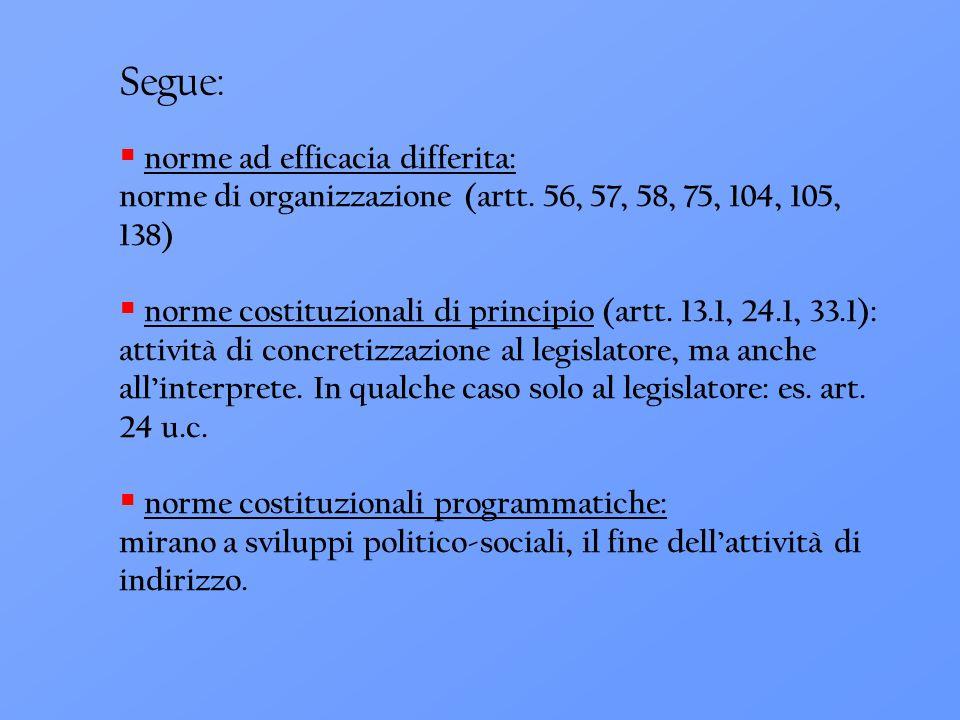 Segue:  norme ad efficacia differita: norme di organizzazione (artt. 56, 57, 58, 75, 104, 105, 138)  norme costituzionali di principio (artt. 13.1,