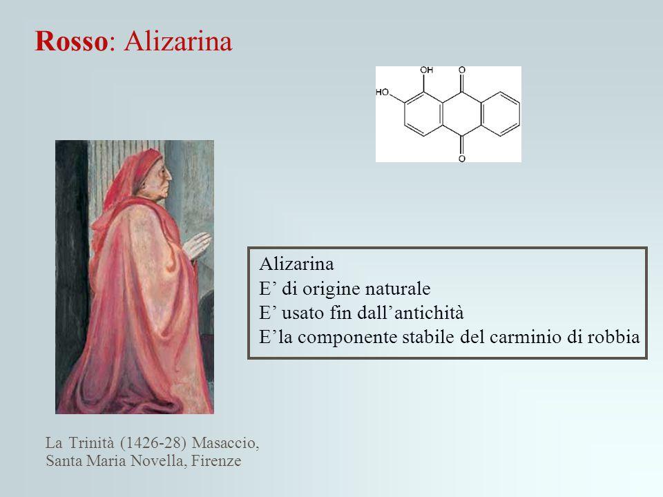 Rosso: Alizarina La Trinità (1426-28) Masaccio, Santa Maria Novella, Firenze Alizarina E' di origine naturale E' usato fin dall'antichità E'la compone