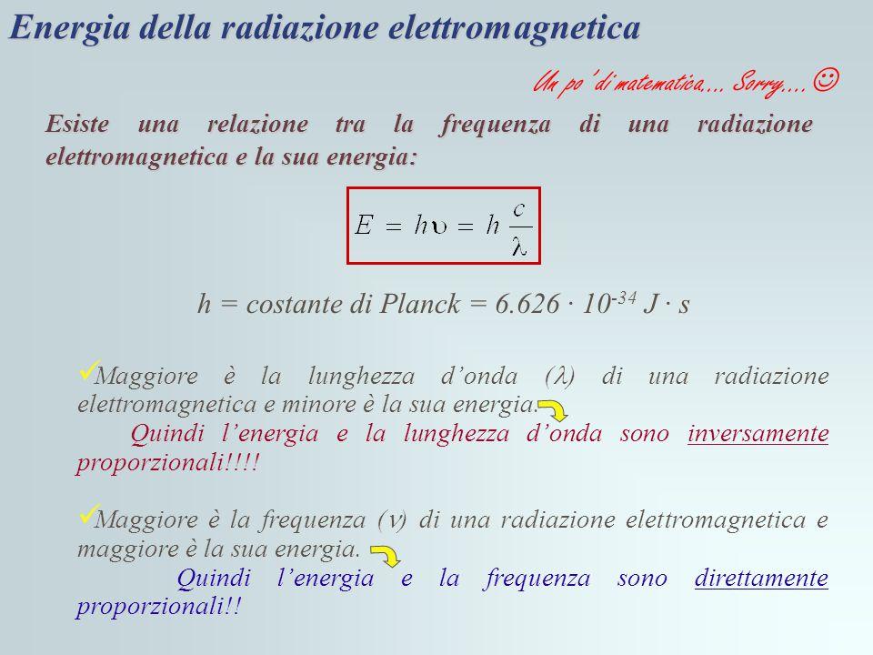 Energia della radiazione elettromagnetica Esiste una relazione tra la frequenza di una radiazione elettromagnetica e la sua energia: h = costante di P