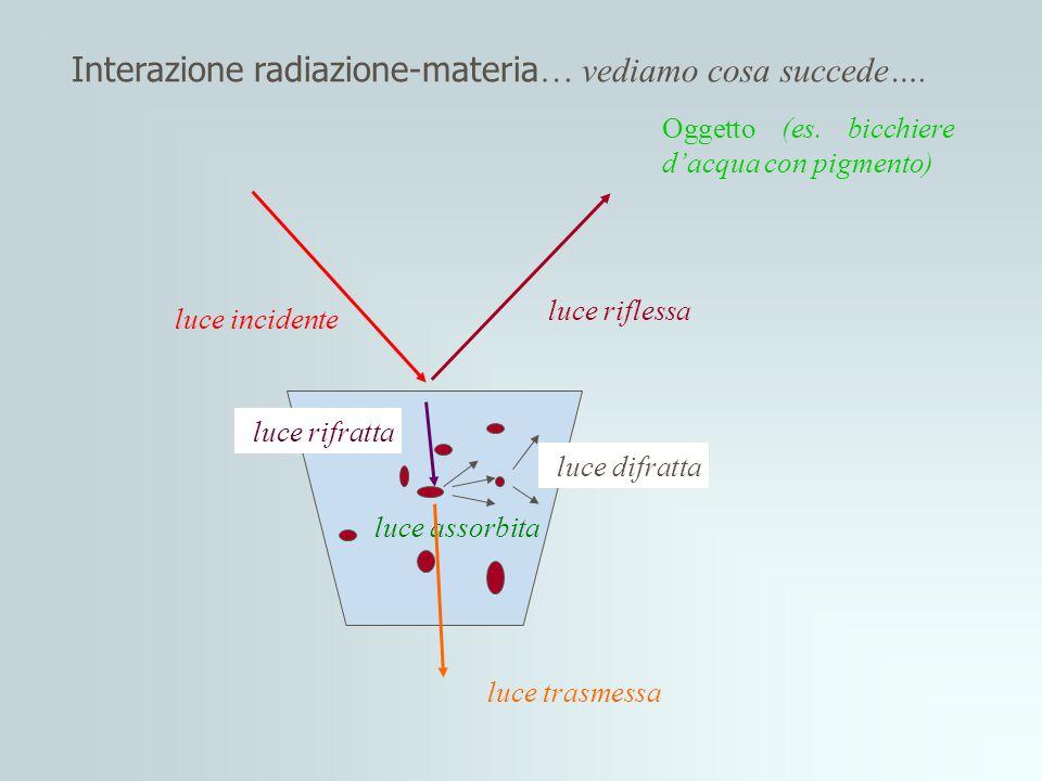 Componenti di uno Spettrofotometro Sorgente: Sorgente: fornisce una radiazione continua sulle lunghezze d'onda di interesse Monocromatore Monocromatore:seleziona una stretta banda di lunghezze d'onda dallo spettro della sorgente Rivelatore Rivelatore:converte la radiazione elettromagnetica trasmessa in energia elettrica Sorgente Monocromatore Campione Rivelatore Computer Riferimento P PoPo Specchio rotante specchio