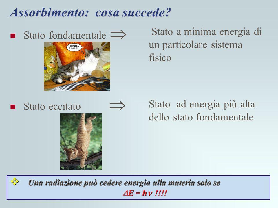 Una radiazione può essere assorbita dalla materia solo se la sua energia è pari alla differenza di energia tra lo stato fondamentale e quello eccitato della molecola h  =  E Radiazione assorbita!!.