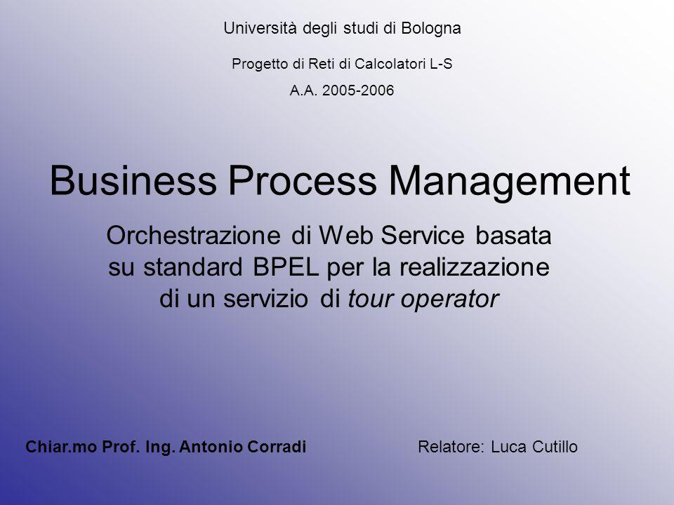Business Process Management Orchestrazione di Web Service basata su standard BPEL per la realizzazione di un servizio di tour operator Università degli studi di Bologna Progetto di Reti di Calcolatori L-S A.A.