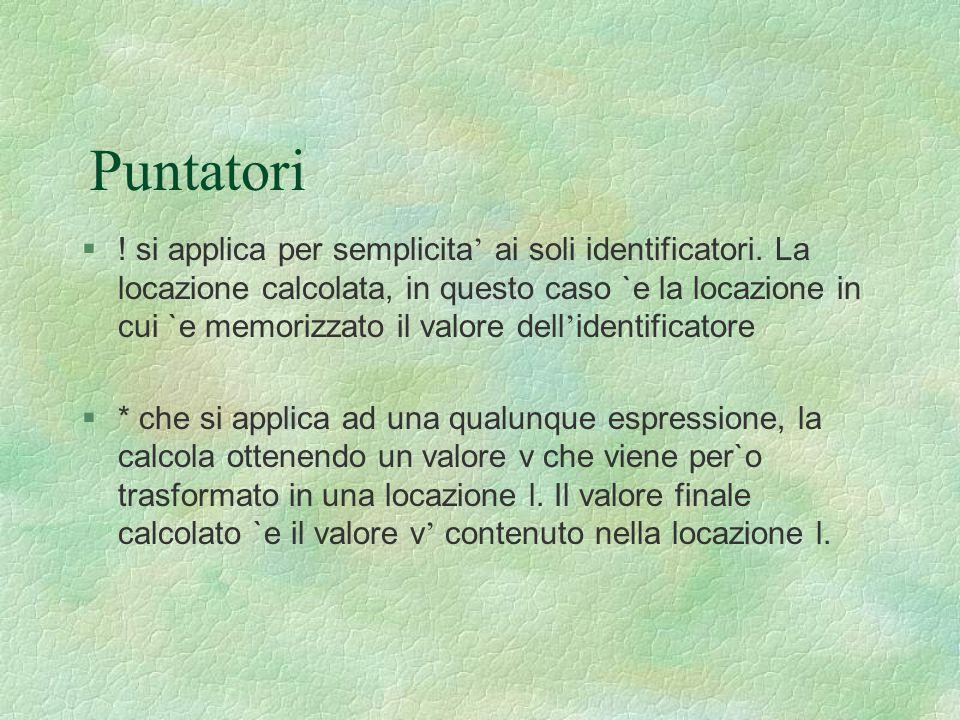 Puntatori  ! si applica per semplicita ' ai soli identificatori. La locazione calcolata, in questo caso `e la locazione in cui `e memorizzato il valo