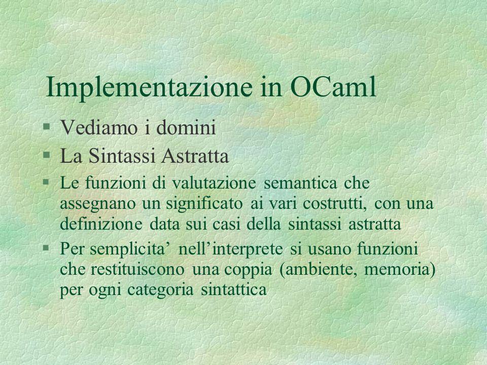 Implementazione in OCaml §Vediamo i domini §La Sintassi Astratta §Le funzioni di valutazione semantica che assegnano un significato ai vari costrutti,