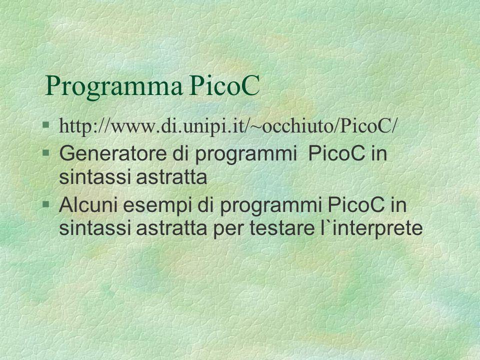 Programma PicoC §http://www.di.unipi.it/~occhiuto/PicoC/  Generatore di programmi PicoC in sintassi astratta  Alcuni esempi di programmi PicoC in si