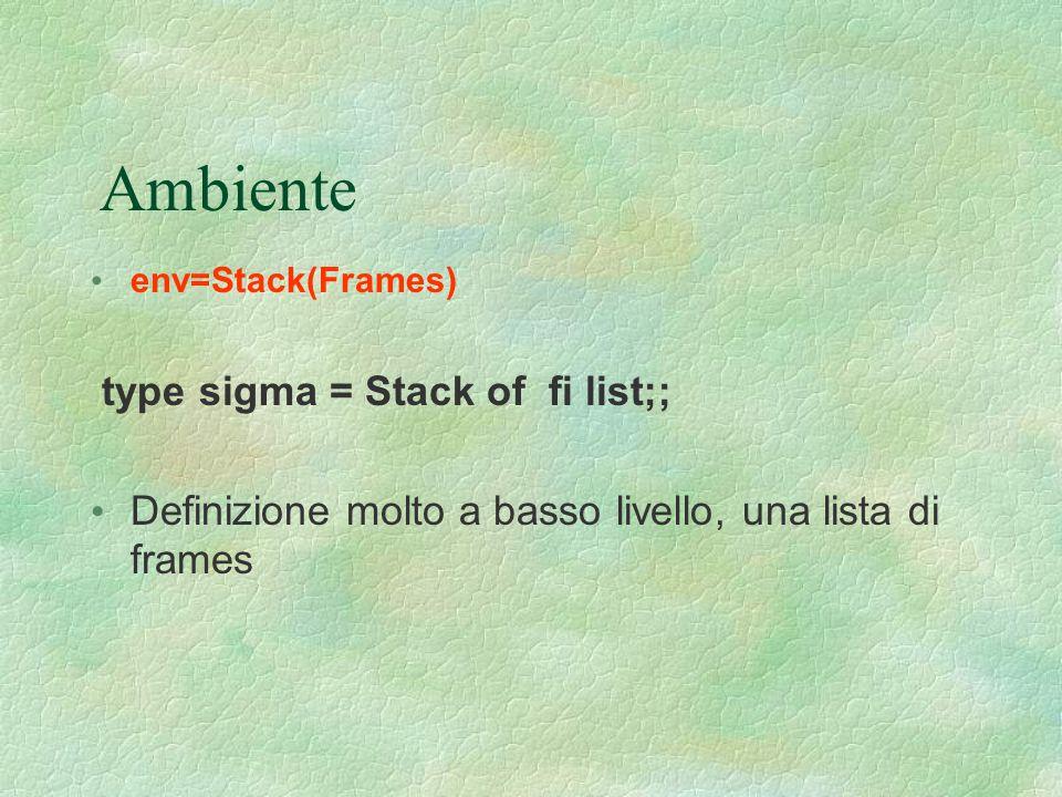 Ambiente env=Stack(Frames) type sigma = Stack of fi list;; Definizione molto a basso livello, una lista di frames