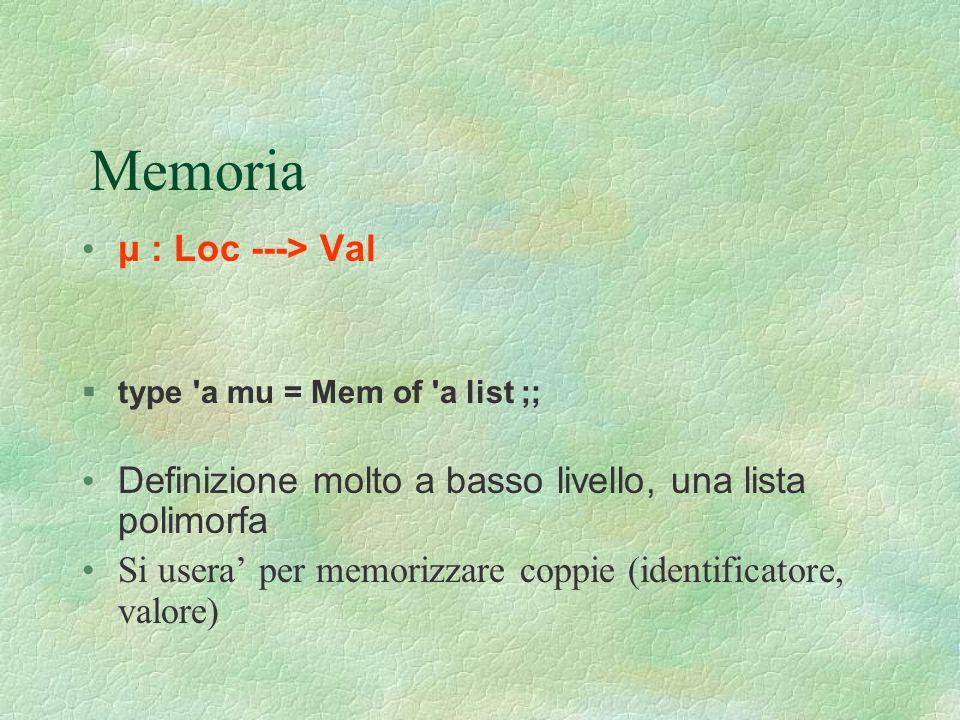 Memoria μ : Loc ---> Val  type 'a mu = Mem of 'a list ;; Definizione molto a basso livello, una lista polimorfa Si usera' per memorizzare coppie (ide