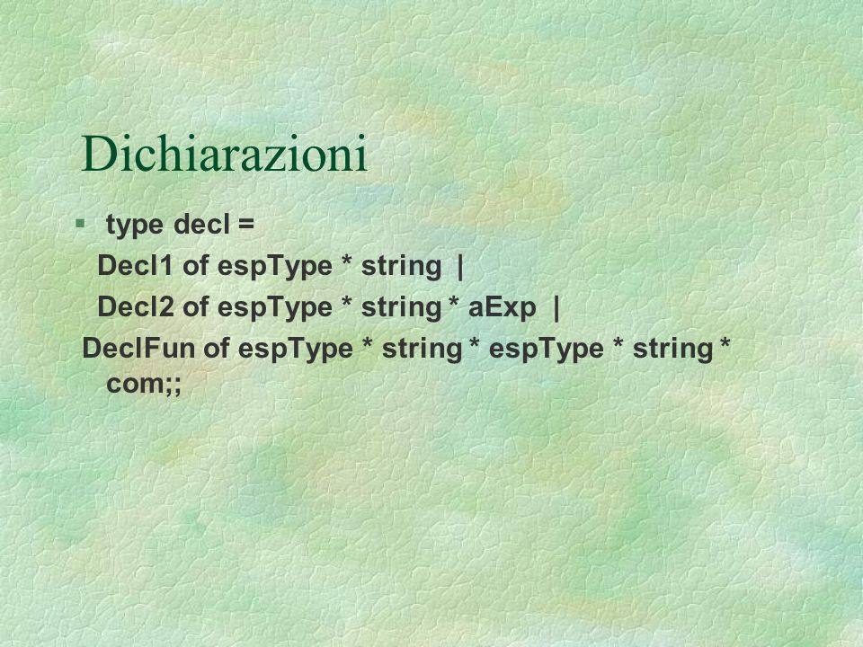 Dichiarazioni  type decl = Decl1 of espType * string | Decl2 of espType * string * aExp | DeclFun of espType * string * espType * string * com;;