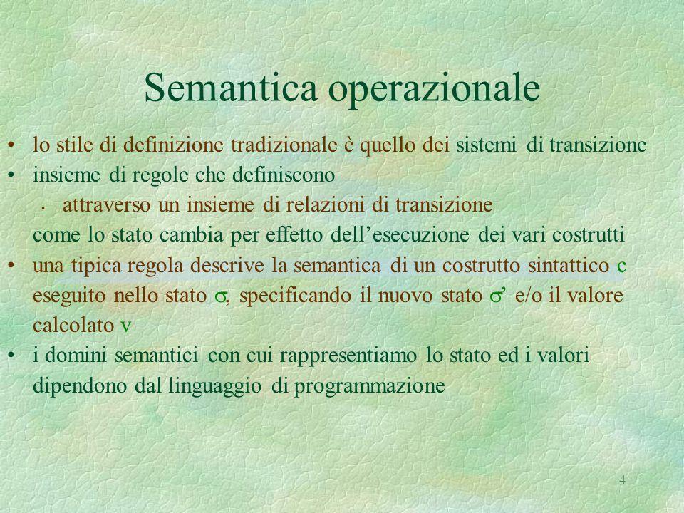 4 Semantica operazionale lo stile di definizione tradizionale è quello dei sistemi di transizione insieme di regole che definiscono attraverso un insi