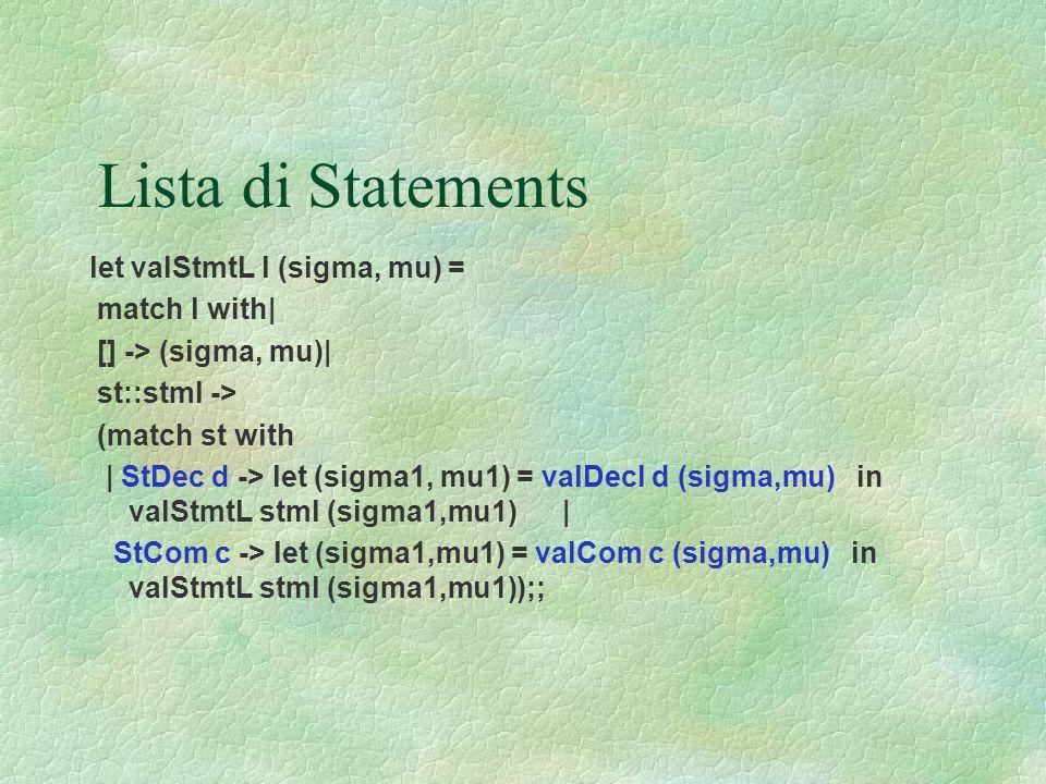 Lista di Statements let valStmtL l (sigma, mu) = match l with| [] -> (sigma, mu)| st::stml -> (match st with | StDec d -> let (sigma1, mu1) = valDecl