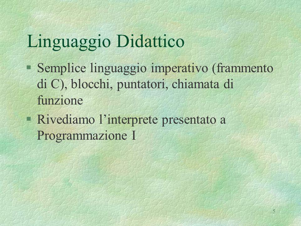 5 Linguaggio Didattico §Semplice linguaggio imperativo (frammento di C), blocchi, puntatori, chiamata di funzione §Rivediamo l'interprete presentato a