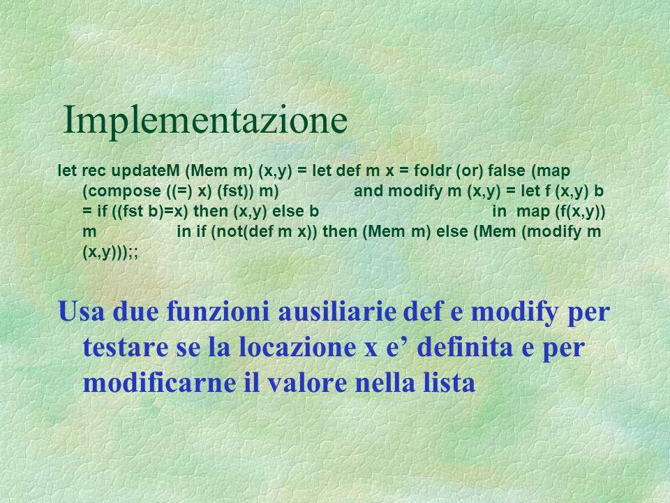 Implementazione let rec updateM (Mem m) (x,y) = let def m x = foldr (or) false (map (compose ((=) x) (fst)) m) and modify m (x,y) = let f (x,y) b = if