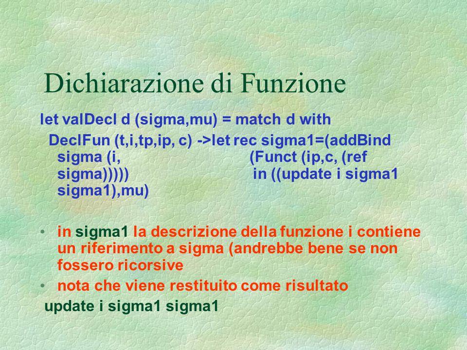 Dichiarazione di Funzione let valDecl d (sigma,mu) = match d with DeclFun (t,i,tp,ip, c) ->let rec sigma1=(addBind sigma (i, (Funct (ip,c, (ref sigma)