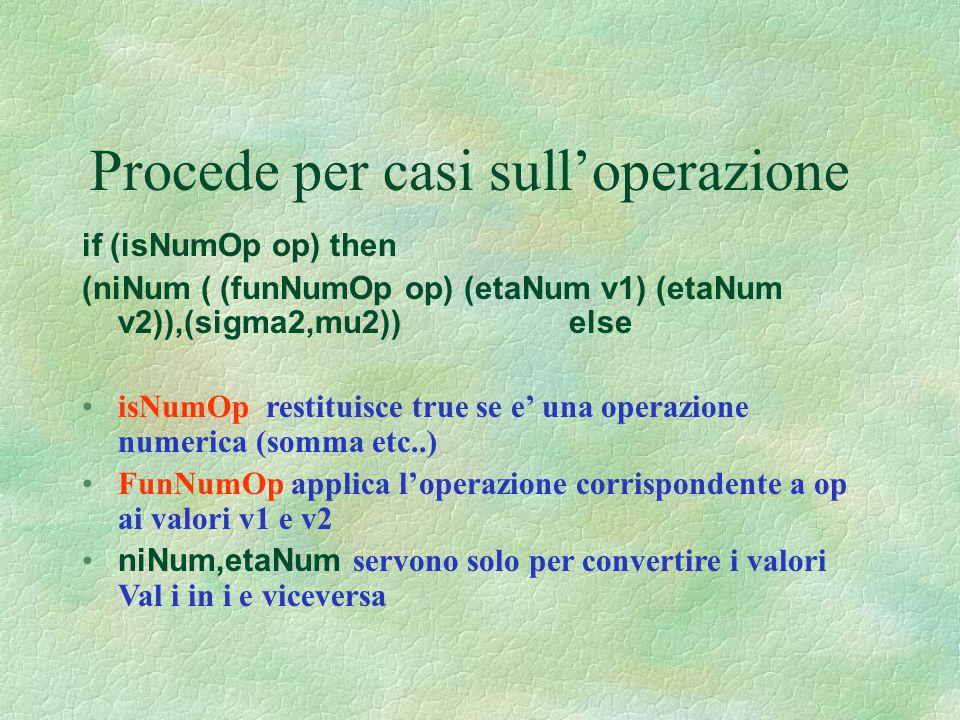 Procede per casi sull'operazione if (isNumOp op) then (niNum ( (funNumOp op) (etaNum v1) (etaNum v2)),(sigma2,mu2)) else isNumOp restituisce true se e