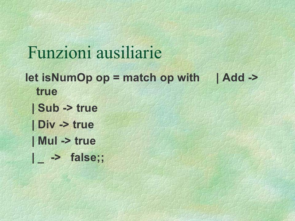 Funzioni ausiliarie let isNumOp op = match op with | Add -> true | Sub -> true | Div -> true | Mul -> true | _ -> false;;