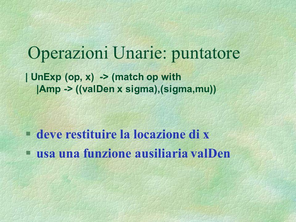 Operazioni Unarie: puntatore | UnExp (op, x) -> (match op with |Amp -> ((valDen x sigma),(sigma,mu)) §deve restituire la locazione di x §usa una funzi