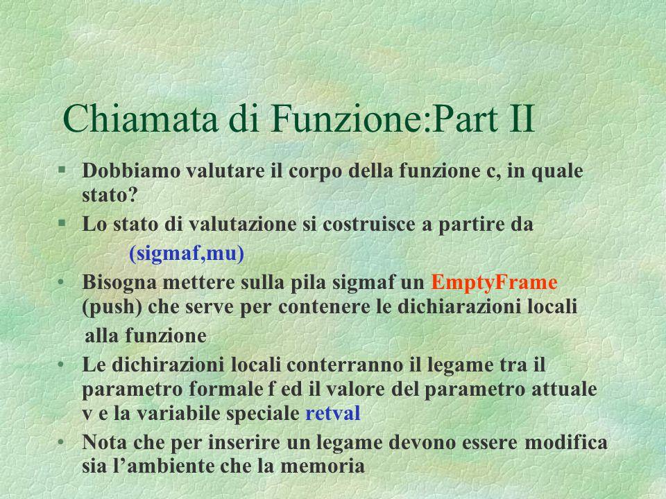 Chiamata di Funzione:Part II §Dobbiamo valutare il corpo della funzione c, in quale stato? §Lo stato di valutazione si costruisce a partire da (sigmaf