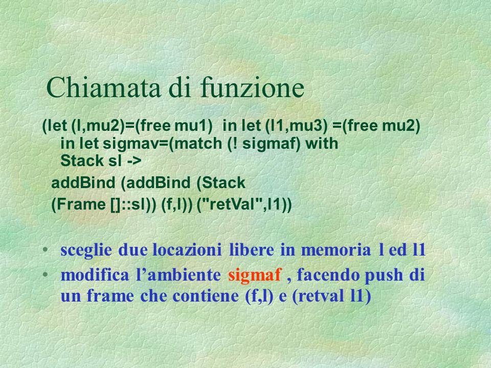 Chiamata di funzione (let (l,mu2)=(free mu1) in let (l1,mu3) =(free mu2) in let sigmav=(match (! sigmaf) with Stack sl -> addBind (addBind (Stack (Fra