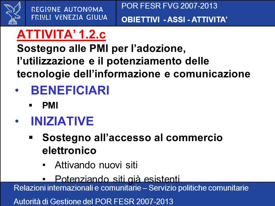 POR FESR FVG 2007-2013 OBIETTIVI - ASSI - ATTIVITA' Relazioni internazionali e comunitarie – Servizio politiche comunitarie Autorità di Gestione del POR FESR 2007-2013 ATTIVITA' 1.2.c Sostegno alle PMI per l'adozione, l'utilizzazione e il potenziamento delle tecnologie dell'informazione e comunicazione BENEFICIARI  PMI INIZIATIVE  Sostegno all'accesso al commercio elettronico Attivando nuovi siti Potenziando siti già esistenti