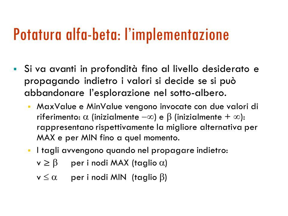 Potatura alfa-beta: l'idea  Tecnica di potatura per ridurre l'esplorazione dello spazio di ricerca in algoritmi MIN-MAX.