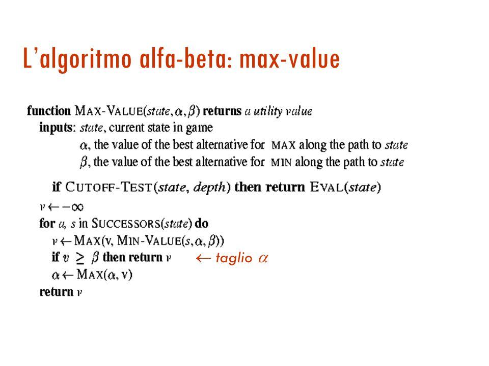 Potatura alfa-beta: l'implementazione  Si va avanti in profondità fino al livello desiderato e propagando indietro i valori si decide se si può abbandonare l'esplorazione nel sotto-albero.