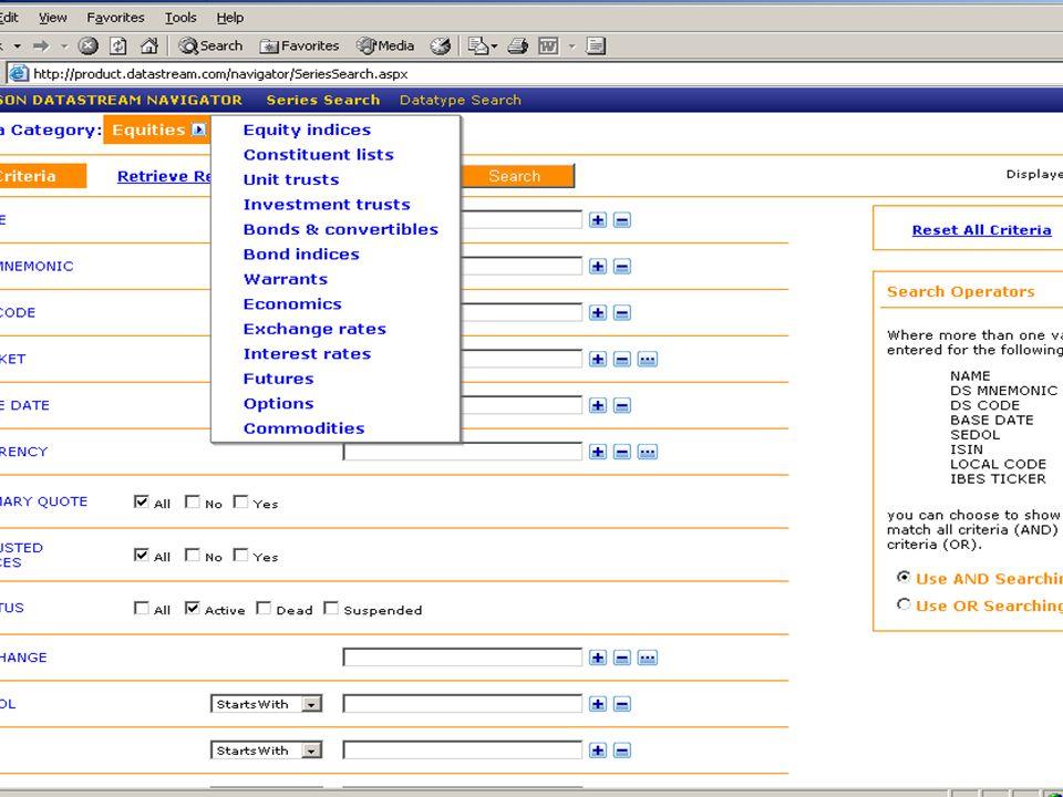T H O M S O N F I N A N C I A L Navigator  Nuova interfaccia web-based per la ricerca dei codici.