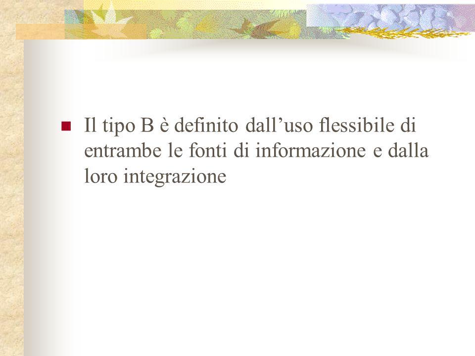 Il tipo B è definito dall'uso flessibile di entrambe le fonti di informazione e dalla loro integrazione