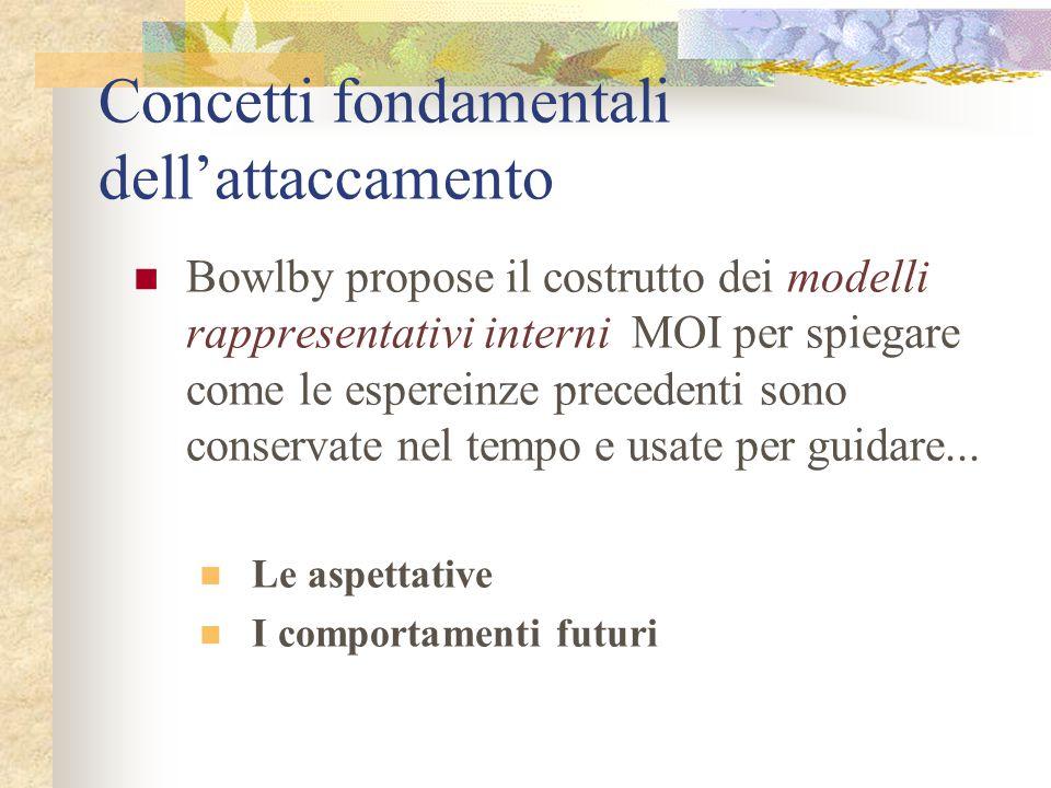 Concetti fondamentali dell'attaccamento Bowlby propose il costrutto dei modelli rappresentativi interni MOI per spiegare come le espereinze precedenti