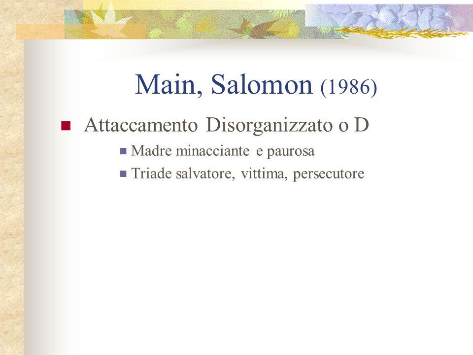 Main, Salomon (1986) Attaccamento Disorganizzato o D Madre minacciante e paurosa Triade salvatore, vittima, persecutore