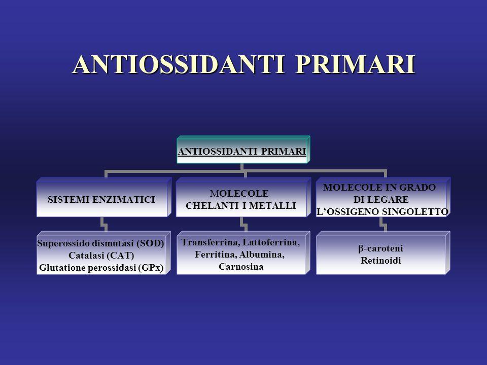 ANTIOSSIDANTI PRIMARI SISTEMI ENZIMATICI Superossido dismutasi (SOD) Catalasi (CAT) Glutatione perossidasi (GPx) MOLECOLE CHELANTI I METALLI Transferrina, Lattoferrina, Ferritina, Albumina, Carnosina MOLECOLE IN GRADO DI LEGARE L'OSSIGENO SINGOLETTO β-caroteni Retinoidi