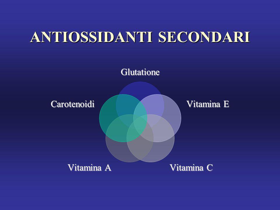ANTIOSSIDANTI SECONDARI Glutatione Vitamina E Vitamina C Vitamina A Carotenoidi