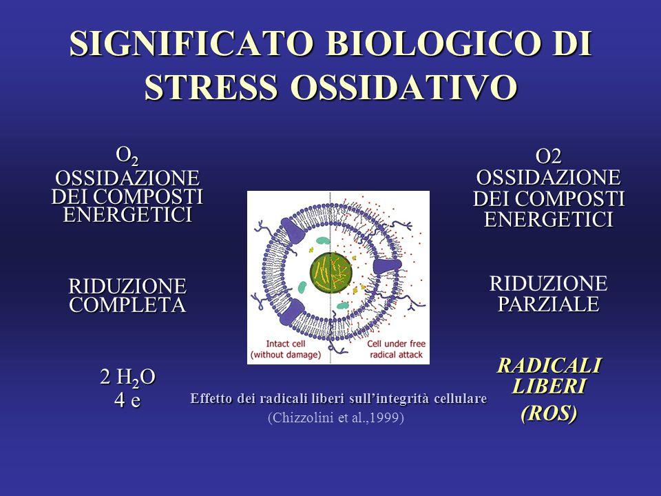 SIGNIFICATO BIOLOGICO DI STRESS OSSIDATIVO O2O2O2O2 OSSIDAZIONE DEI COMPOSTI ENERGETICI RIDUZIONE COMPLETA 2 H 2 O 4 e O2 OSSIDAZIONE DEI COMPOSTI ENERGETICI PARZIALE RIDUZIONE PARZIALE RADICALI LIBERI (ROS) Effetto dei radicali liberi sull'integrità cellulare (Chizzolini et al.,1999)