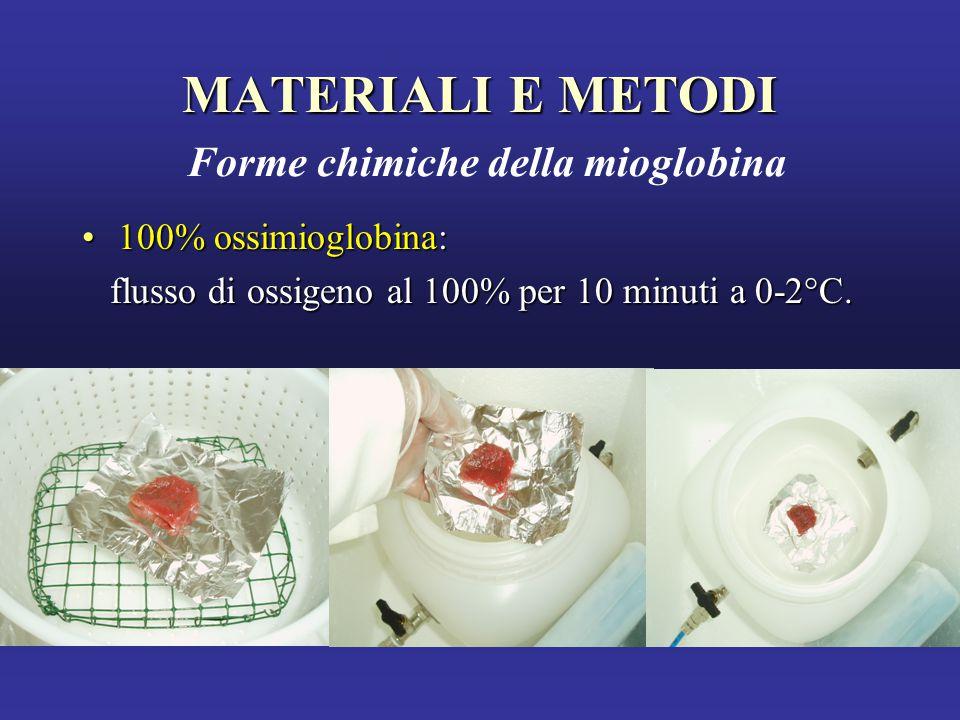 MATERIALI E METODI MATERIALI E METODI Forme chimiche della mioglobina 100% ossimioglobina:100% ossimioglobina: flusso di ossigeno al 100% per 10 minuti a 0-2°C.