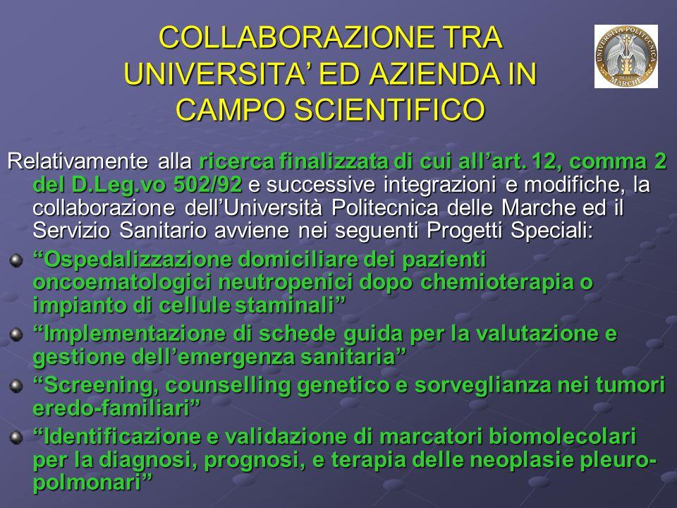 COLLABORAZIONE TRA UNIVERSITA' ED AZIENDA IN CAMPO SCIENTIFICO Relativamente alla ricerca finalizzata di cui all'art.