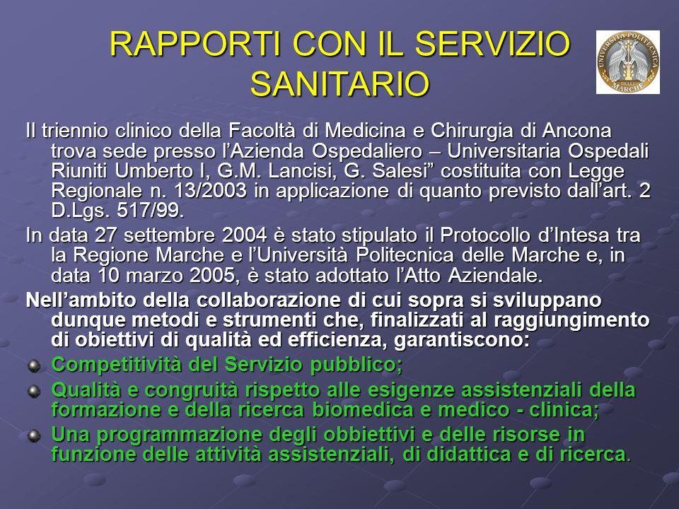 RAPPORTI CON IL SERVIZIO SANITARIO Il triennio clinico della Facoltà di Medicina e Chirurgia di Ancona trova sede presso l'Azienda Ospedaliero – Universitaria Ospedali Riuniti Umberto I, G.M.