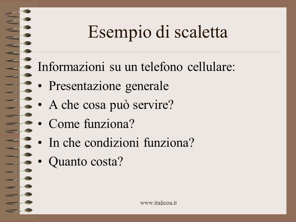 www.italicon.it Esempio di scaletta Informazioni su un telefono cellulare: Presentazione generale A che cosa può servire.