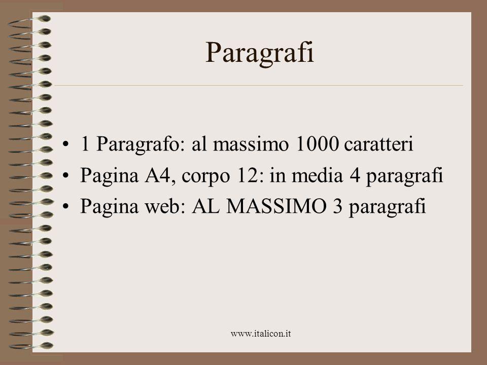 www.italicon.it Paragrafi 1 Paragrafo: al massimo 1000 caratteri Pagina A4, corpo 12: in media 4 paragrafi Pagina web: AL MASSIMO 3 paragrafi