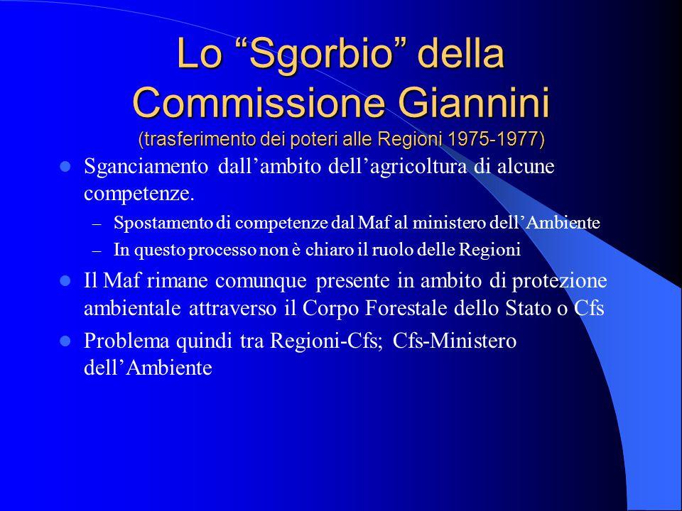 Lo Sgorbio della Commissione Giannini (trasferimento dei poteri alle Regioni 1975-1977) Sganciamento dall'ambito dell'agricoltura di alcune competenze.