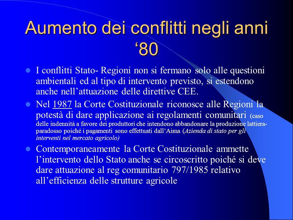 Aumento dei conflitti negli anni '80 I conflitti Stato- Regioni non si fermano solo alle questioni ambientali ed al tipo di intervento previsto, si estendono anche nell'attuazione delle direttive CEE.