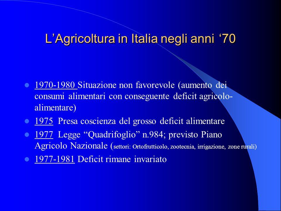 L'Agricoltura in Italia negli anni '70 1970-1980 Situazione non favorevole (aumento dei consumi alimentari con conseguente deficit agricolo- alimentare) 1975 Presa coscienza del grosso deficit alimentare 1977 Legge Quadrifoglio n.984; previsto Piano Agricolo Nazionale ( settori: Ortofrutticolo, zootecnia, irrigazione, zone rurali) 1977-1981 Deficit rimane invariato